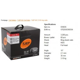 Pointes rouleaux annelées 15 degré 21/35mm C3200 HDG TJEP 839035