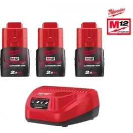 Pack M12 NRJ- 203 3 batteries 12V 2.0 Ah + chargeur C12C Milwaukee 4933459210